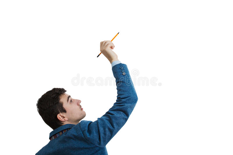 Draw in air. Businessman holding a pencil in his hand try to draw an imaginetive sketch. Isolated on white background stock images