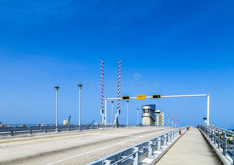 Draw bridge at harbor in Fort Lauderdale royalty free stock images