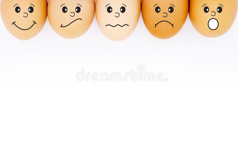 Face from egg isolated on white background with copy space for design royalty free stock photos