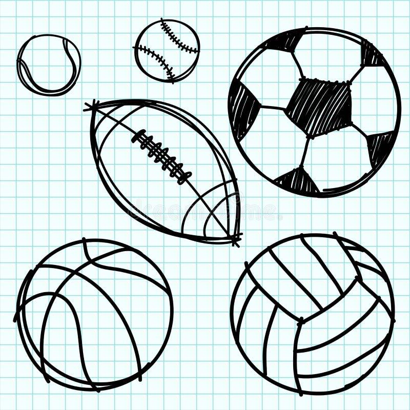 Draw för sportbollhand på grafpapper. vektor illustrationer