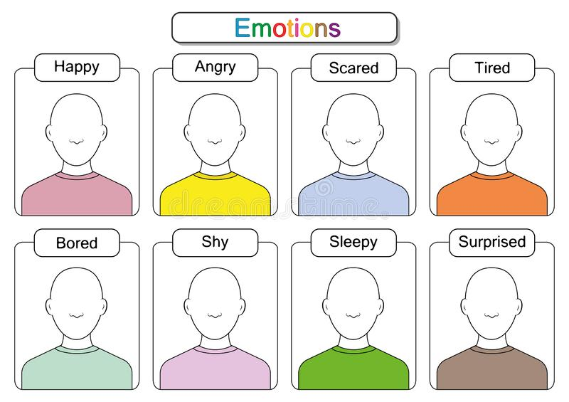 Children Are Learning Emotions, Draw The Faces, Draw The Emotions,  Educaitonal Worksheets For Kids Stock Illustration - Illustration Of Calm,  Emotion: 144672787