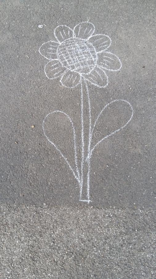 Draw. A flower drawn on the ground stock photography