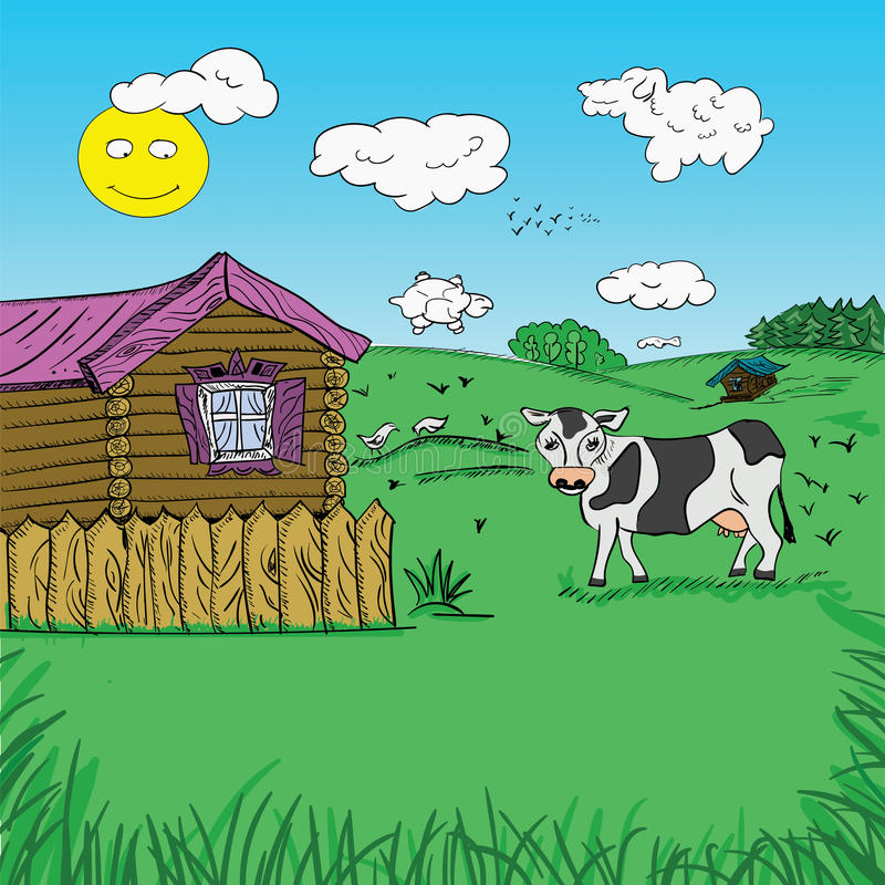 Draw freehand landscape of rural life stock image
