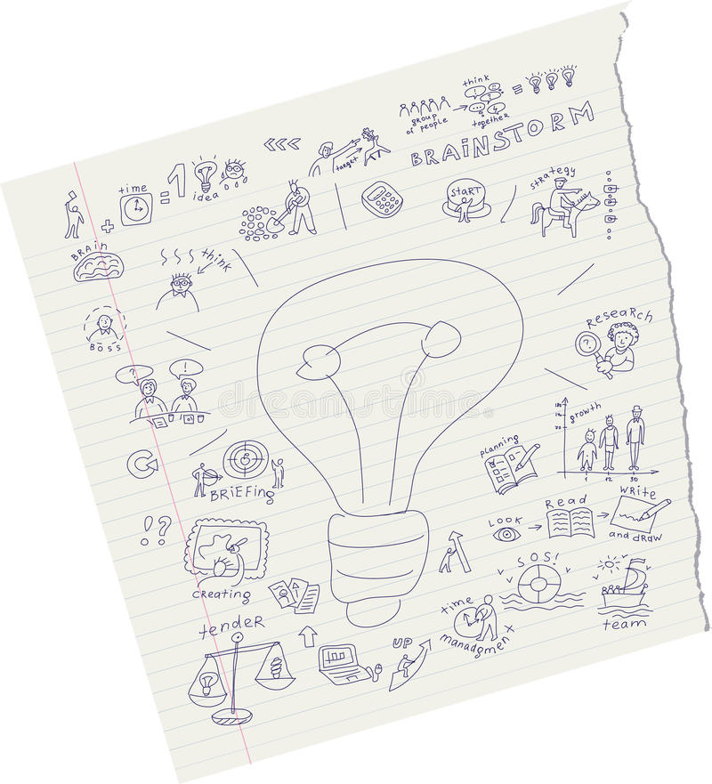 Draw ideas on paper. Drawing sketch of ideas on paper. Doodles vector illustration stock illustration
