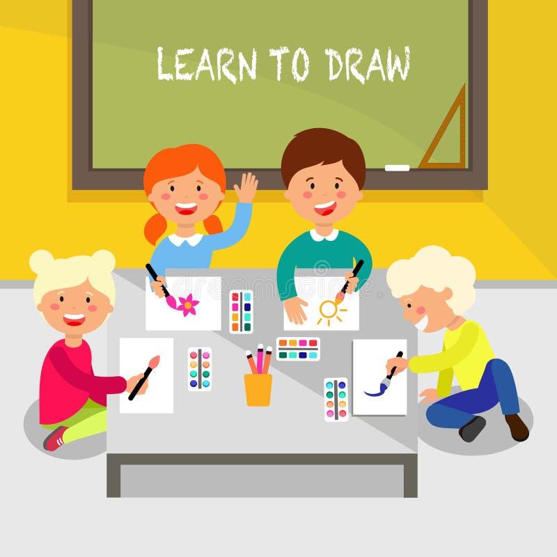 draw lärer till Plan illustration för vektor vektor illustrationer