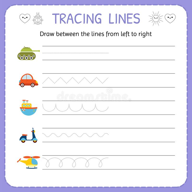 Line Drawing Kindergarten : Draw between the lines from left to right preschool