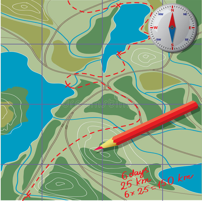 We Draw On The Map Calculate The Distance Stock Vector - Map route distance