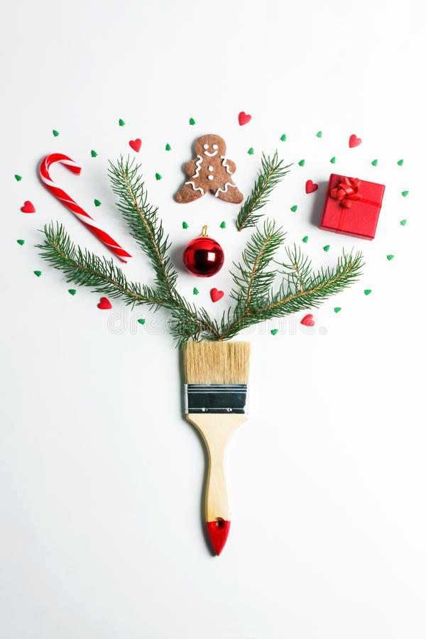 Draw me Christmas new year winter holiday composition creative concept royalty free stock photos