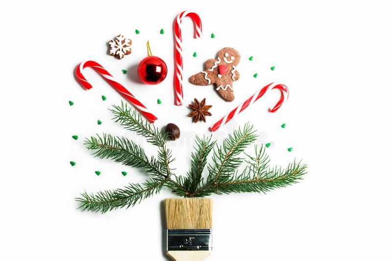 Draw me Christmas new year winter holiday composition creative concept stock images