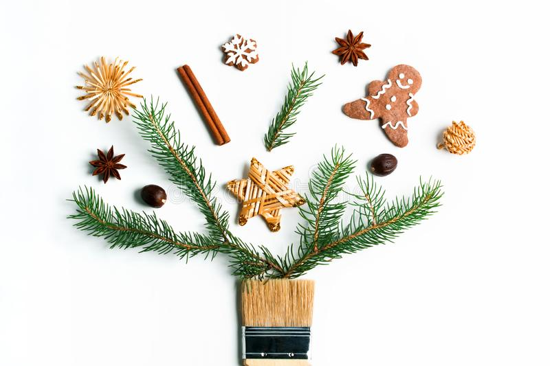 Draw me Christmas new year winter holiday composition creative concept stock photos