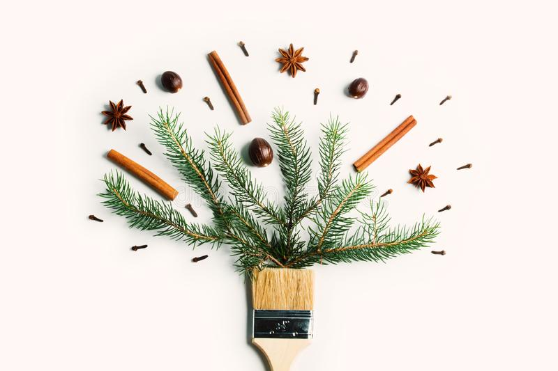 Draw me Christmas new year winter holiday composition creative concept royalty free stock photography