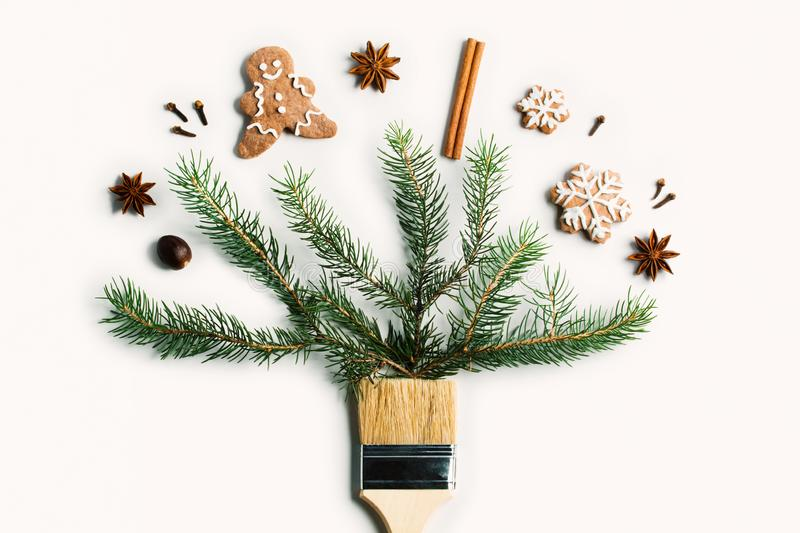 Draw me Christmas new year winter holiday composition creative concept stock photography
