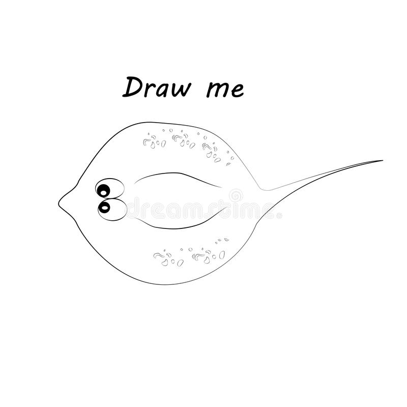 Draw me - vector illustration of sea animals. The numbfish coloring game for children. Draw me - vector illustration of sea animals. The numbfish coloring game royalty free illustration