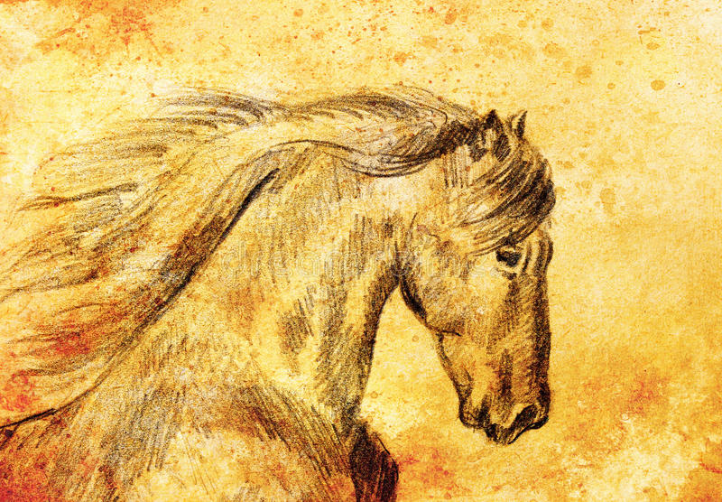 Draw pencil horse on old paper, And old vintage paper structure. Draw pencil horse on old paper, And old vintage paper structure vector illustration