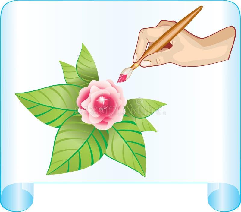 Draw rose card stock illustration