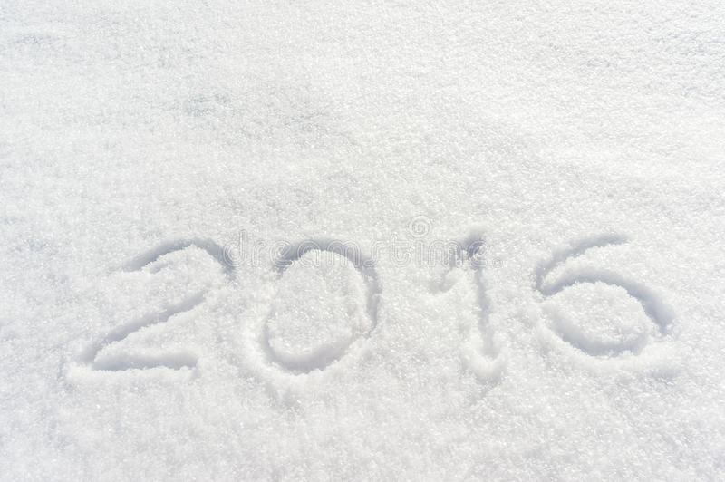 2016 draw on snow. 2016 draw on white snow, for your design stock photos