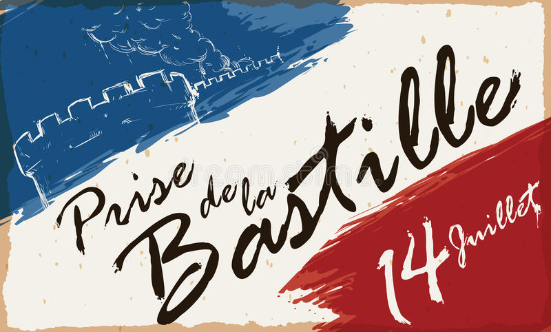Draw of Storming of the Bastille and French Colors Brushstrokes, Vector Illustration. French colors brushstrokes with reminder date and draw of the Storming of stock illustration