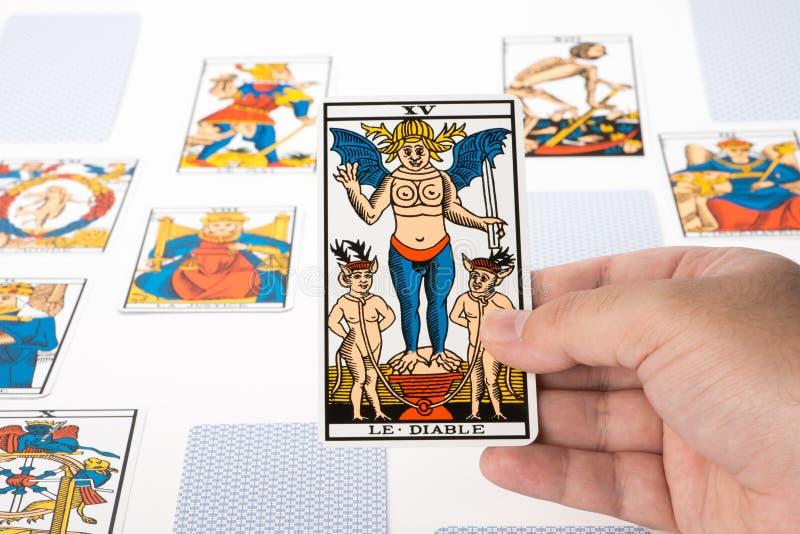 Draw tarot : The Devil stock photography