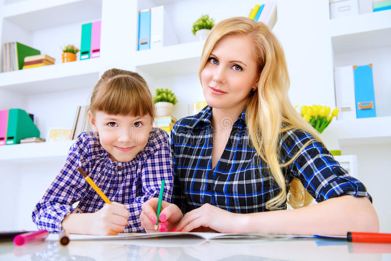 Draw together with daughter royalty free stock images