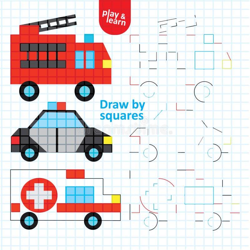 Draw von Plätzen Feuer- und Polizeiwagen Art Kid Game stock abbildung