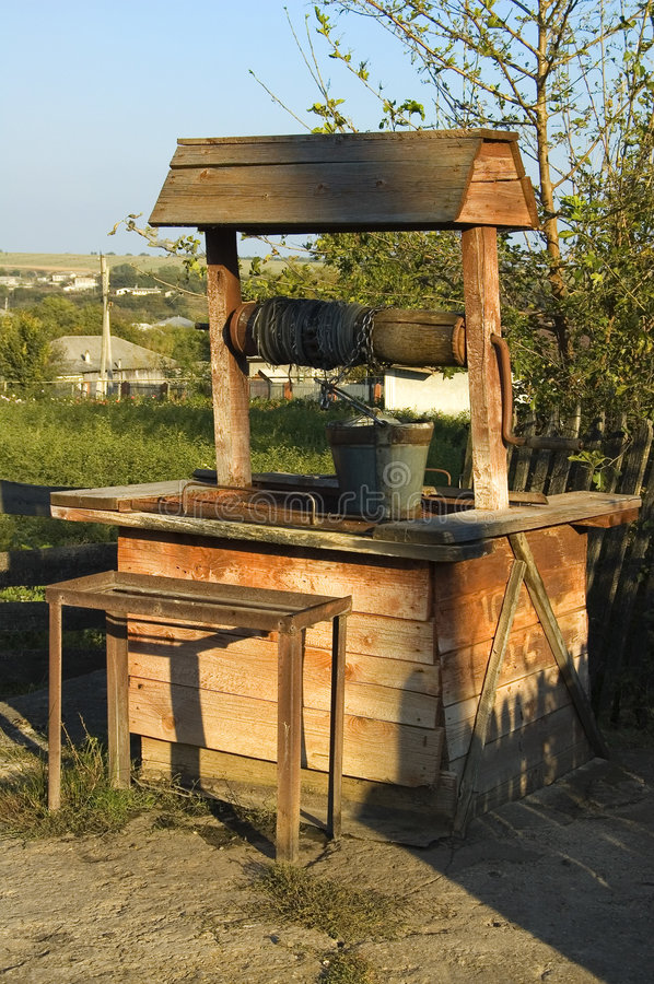 Draw-well for drinking water. This is an old draw-well for drinking water in Republic Moldova royalty free stock photo