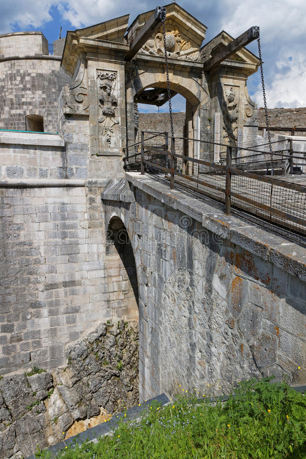 Drawbridge στο Fort-de-Joux στοκ φωτογραφίες
