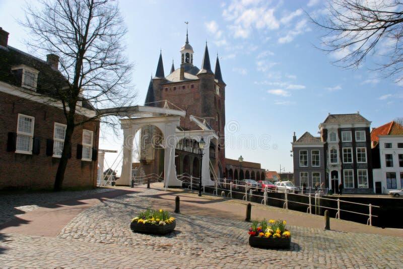 Drawbridge e cancello della città immagine stock