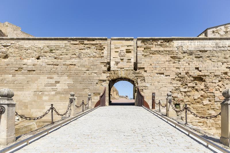 Drawbridge inside the fortress old Cathedral hill of Lleida city, Spain. Drawbridge inside the fortress old Cathedral hill of Lleida city, Catalonia, Spain stock photography