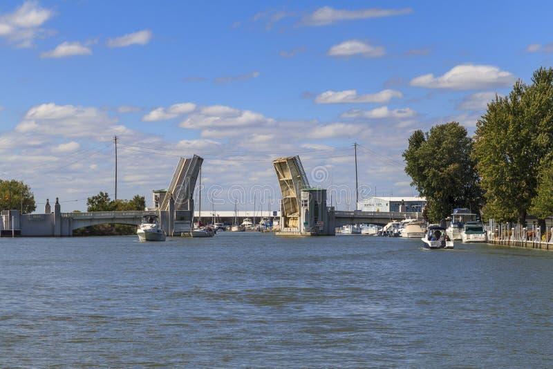 Drawbridge nad Portage rzeką obraz stock