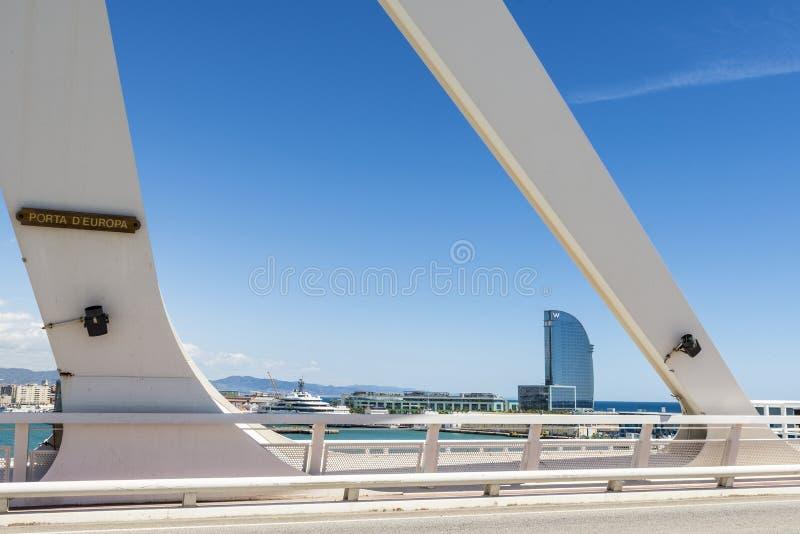 Drawbridge over the port of Barcelona, Spain stock photography