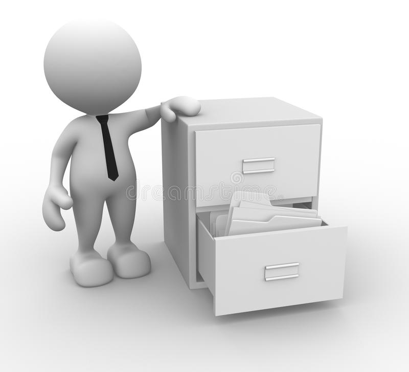 Drawer. 3d people - man, person and open drawer with white folders vector illustration