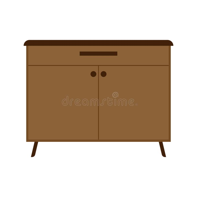 Drawer brown box style equipment retro with shelf. Apartment contemporary simple wooden furniture.  stock illustration