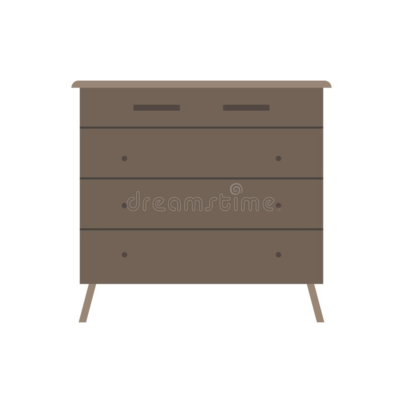 Drawer brown box style equipment retro with shelf. Apartment contemporary simple wooden furniture.  vector illustration