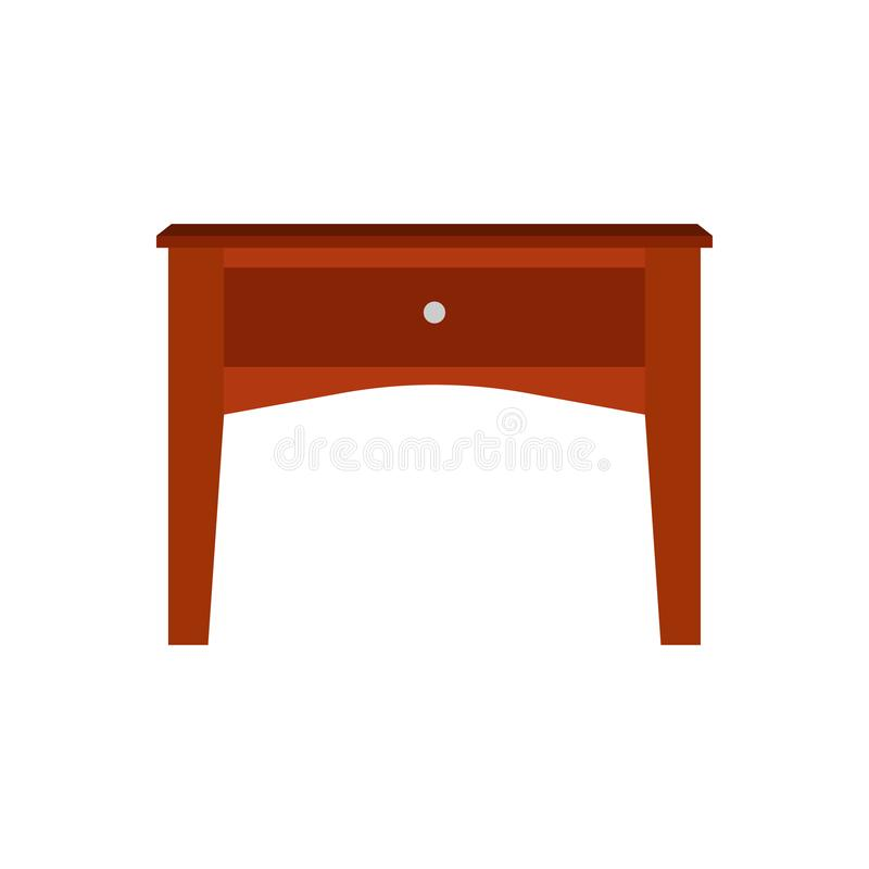 Drawer brown box style equipment retro with shelf. Apartment contemporary simple wooden furniture. Drawer brown box style equipment retro with shelf. Apartment vector illustration