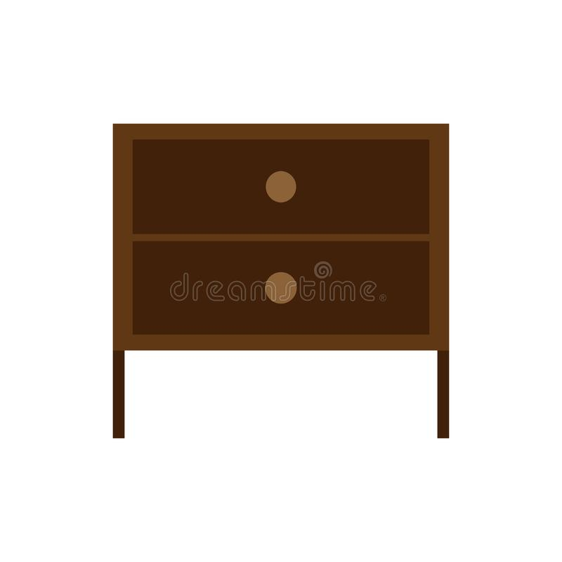 Drawer brown box style equipment retro with shelf. Apartment contemporary simple wooden furniture.  royalty free illustration