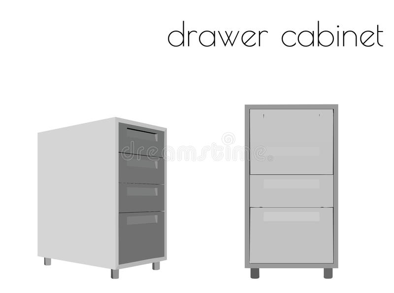 Drawer cabinet silhouette on white background. EPS 10 vector illustration of drawer cabinet silhouette on white background royalty free illustration