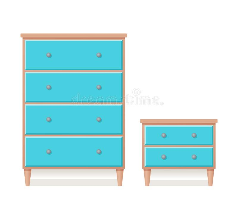 Drawer chest and dresser in flat design. Vector illustration. Drawer chest, dresser, bedside table. Vector. Furniture icon in flat design. Wooden cartoon house royalty free illustration