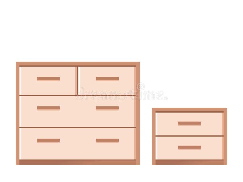 Drawer chest and dresser in flat design. Vector illustration. Drawer chest, dresser, bedside table. Vector. Wooden furniture icon in flat design. House stock illustration