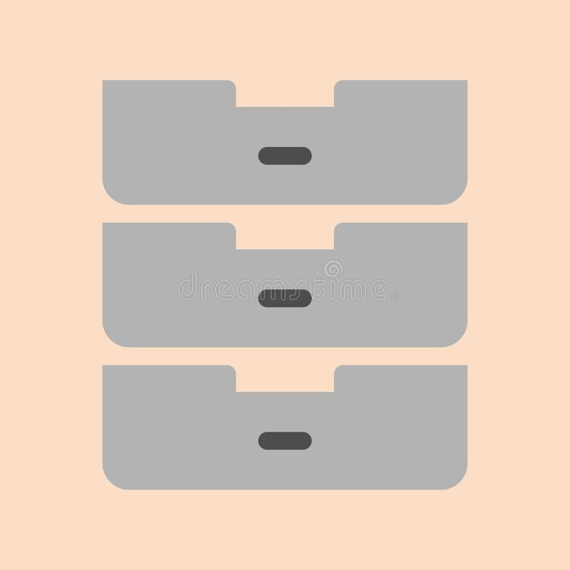 Drawer - file organizer icon in flat design. Suitable for illustration, web and application stock illustration