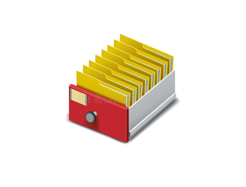 Drawer with folders for files. Archive. Folder in the archives. Drawer with folders for files. Isometric archive. Archive documents. Archival document. Database vector illustration