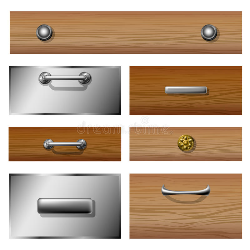 Drawer front set. Wooden and metallic Drawer front set with different knobs stock illustration