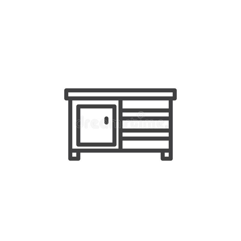 Drawer furniture outline icon. Linear style sign for mobile concept and web design. Cupboard simple line vector icon. Symbol, logo illustration. Pixel perfect royalty free illustration