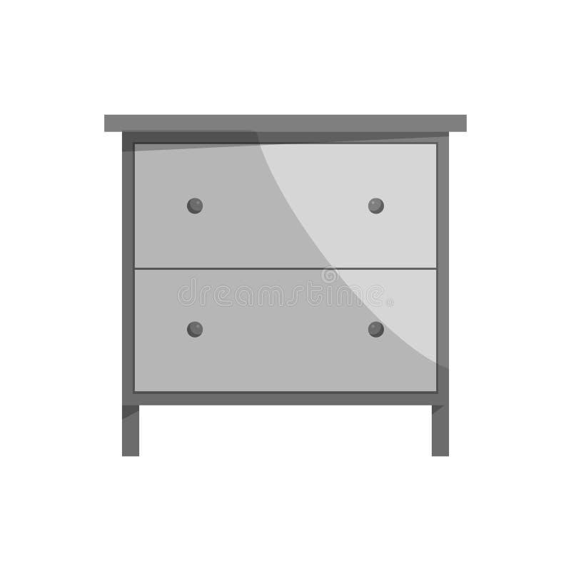 Drawer icon, black monochrome style. Drawer icon in black monochrome style isolated on white background. Home and interior symbol vector illustration stock illustration