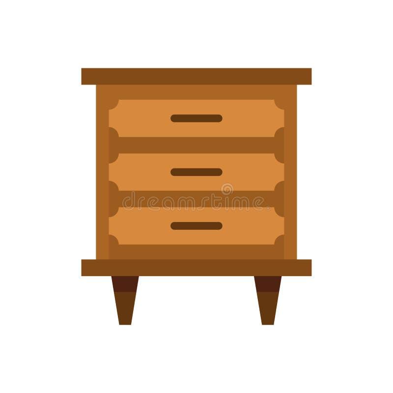 Drawer icon, flat style. Drawer icon in flat style isolated on white background. Furniture symbol illustration stock illustration