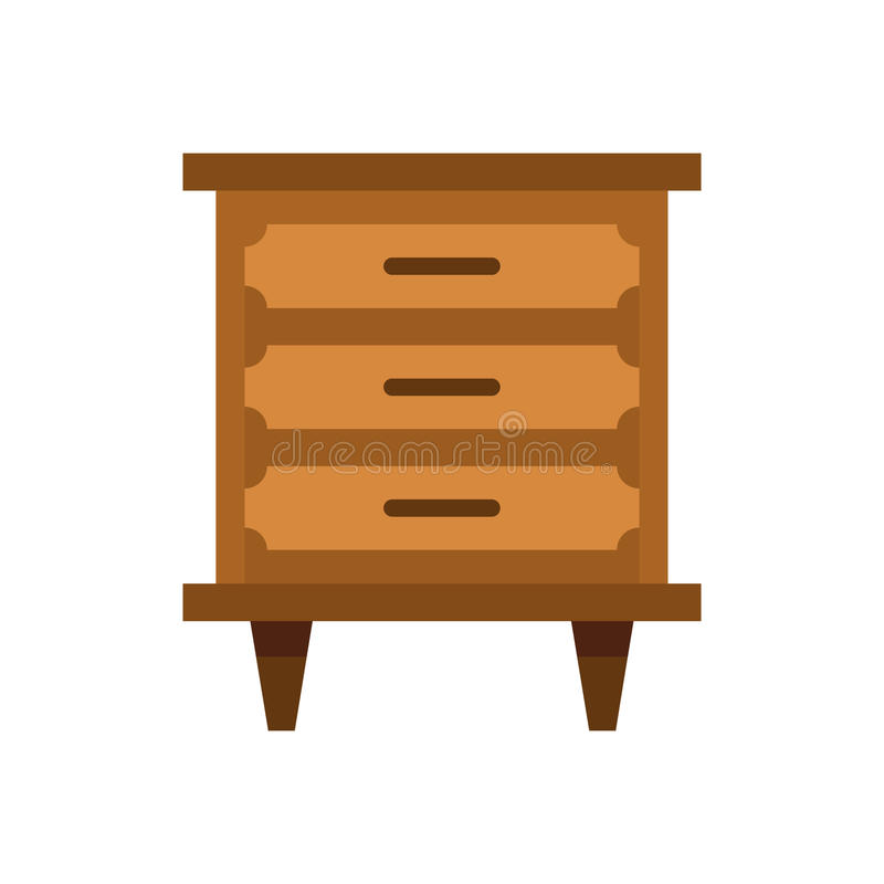 Drawer icon, flat style. Drawer icon in flat style isolated on white background. Furniture symbol vector illustration stock illustration
