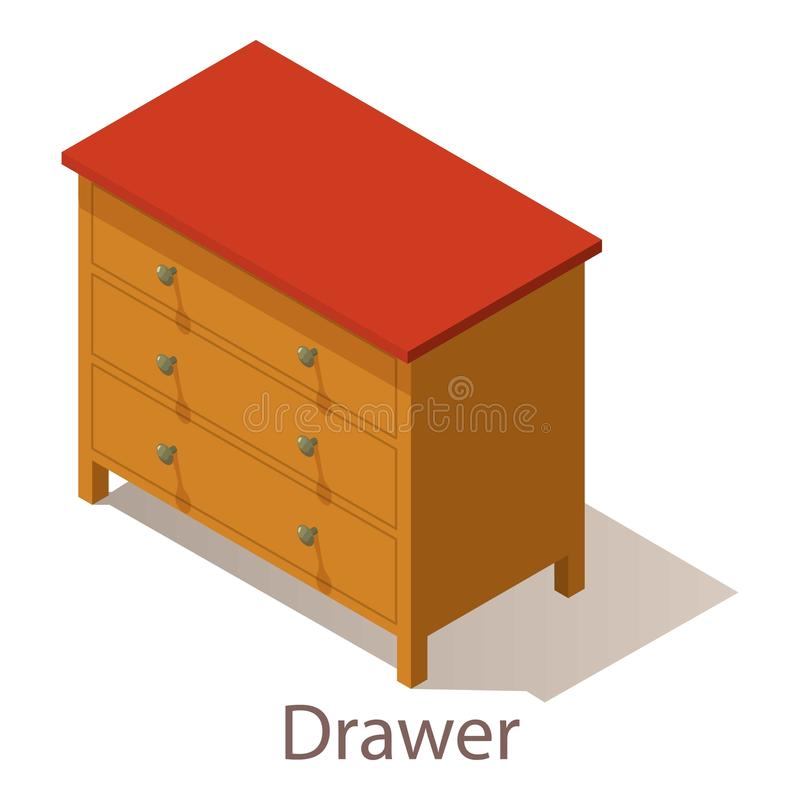 Drawer icon, isometric style. Drawer icon. Isometric illustration of drawer vector icon for web vector illustration