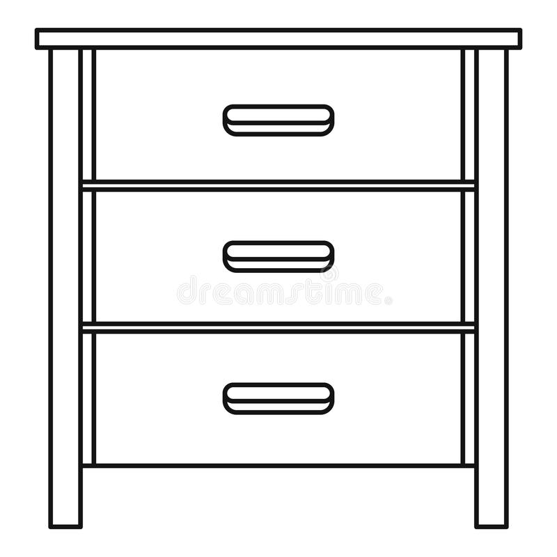 Drawer icon, outline style. Drawer icon. Outline illustration of drawer vector icon for web design isolated on white background vector illustration