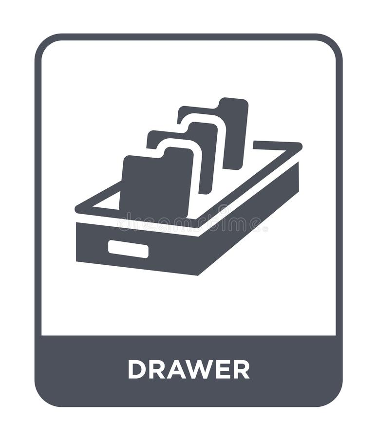 Drawer icon in trendy design style. drawer icon isolated on white background. drawer vector icon simple and modern flat symbol for. Web site, mobile, logo, app royalty free illustration