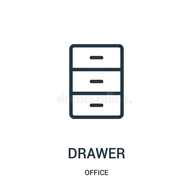 Drawer icon vector from office collection. Thin line drawer outline icon vector illustration. Linear symbol for use on web and mobile apps, logo, print media vector illustration
