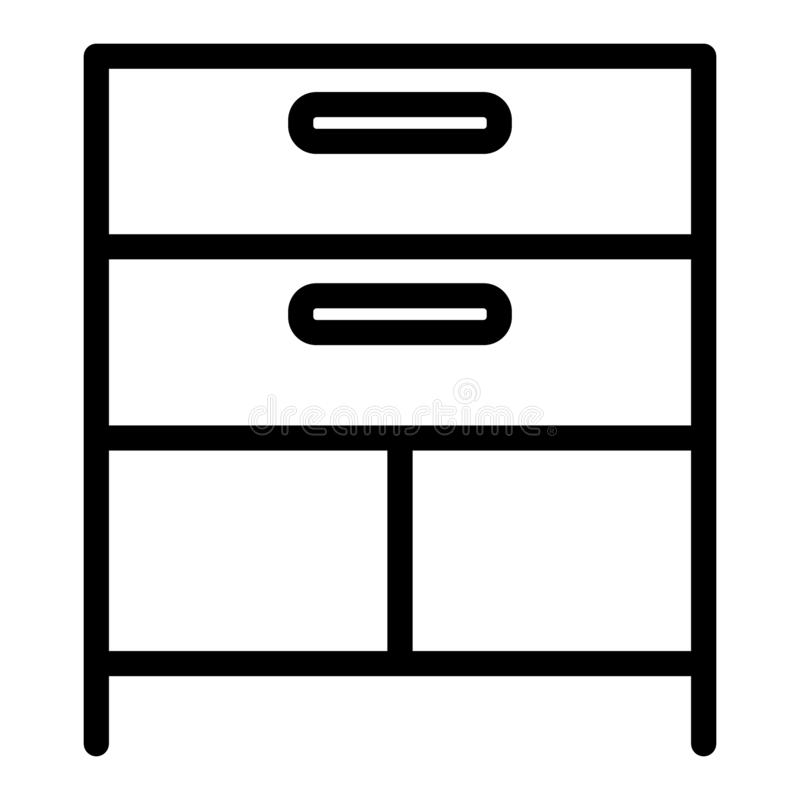 Drawer line icon. Cabinet vector illustration isolated on white. Storage outline style design, designed for web and app. Eps 10 vector illustration